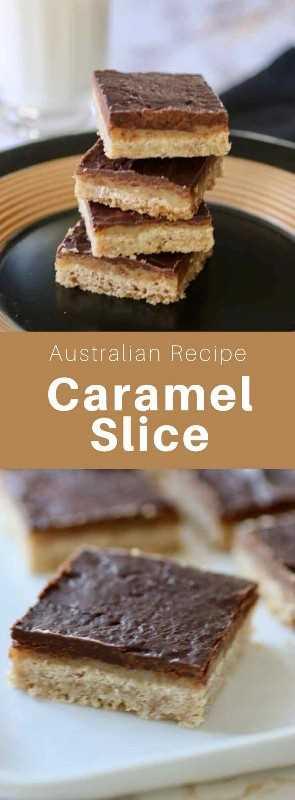 La rebanada de caramelo australiano es una capa de caramelo intercalada entre una torta dulce y una capa de chocolate. Se llama torta dulce de millonario en Escocia. # Australia #Cocina Mundial # 196 sabores