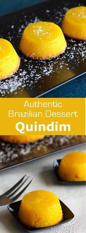 Quindim es un suculento postre tradicional brasileño originario de Portugal preparado con yemas de huevo, azúcar y coco. #desierto # brasil # 196 sabores