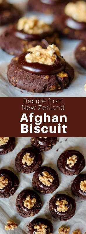 La galleta afgana es una deliciosa galleta de chocolate con glaseado de chocolate cubierto con nueces, que es popular en Nueva Zelanda. #NewZealand #WorldCuisine # 196flavors