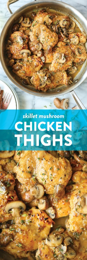 Muslos de pollo con champiñones y sartén - Pollo dorado, súper jugoso y tierno cubierto con una salsa de mantequilla de champiñones al ajo. 30 minutos. ¡Tan rápido, tan bueno!