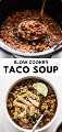 Esta sopa de taco fácil e saudável é perfeita para noites agitadas durante a semana e é um excelente almoço de sobra. Feito com feijão, milho, peru moído e os melhores ingredientes Tex-Mex em uma panela de barro! #tacosoup #soup #slowcooker #crockpot