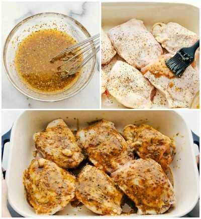 Proceso de muslo de pollo al horno con los ingredientes de la salsa batida, cepillado sobre los muslos de pollo y luego agregando ajo en la parte superior.