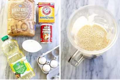 Os ingredientes necessários para panquecas de trigo integral, ao lado de um liquidificador com a massa mista.