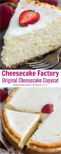 Cheesecake Factory Receta original de Cheesecake Copycat para que puedas prepararla en casa en cualquier momento que lo desees. Este es un pastel de queso cremoso y lujoso con una corteza de graham y cobertura de crema agria.