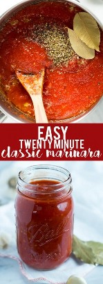 This super quick and easy classic marinara sauce takes twenty minutes to prepare, and uses basic pantry foods you probably have on hand right now. Ideal for a midweek meal with pasta, pizza, or spaghetti squash!