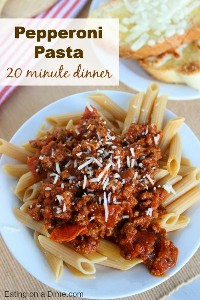 I have another fun and frugal 20-minute dinner idea that your family will love! This pepperoni pasta recipe is easy to make but tastes great.