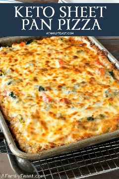 This Keto Sheet Pan pizza has a low carb crust and lots of delicious toppings.