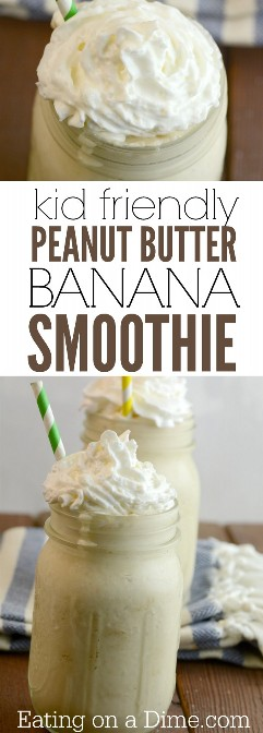 """Try this delicious banana smoothie and peanut butter recipe. This almond, banana, and peanut butter milk shake is delicious and super easy to make. With a few changes and you can also make the Banana Peanut Butter Greek Yogurt Smoothies recipe. Either way they are delicious! """"Width ="""" 400 """"Height ="""" 1114 """"srcset ="""" https://www.eatingonadime.com/wp-content/uploads/2012/03/kid-friendly-peanut-butter-banana- smoothie.jpg 603w, https : //www.eatingonadime.com/wp-content/uploads/2012/03/kid-friendly-peanut-butter-banana-smoothie-108x300.jpg 108w, https: //www.eatingonadime. com / wp-content / uploads / 2012/03 / kid-friendly-peanut-butter-banana-smoothie-368x1024.jpg 368w """"sizes ="""" (maximum width: 400px) 100vw, 400px"""