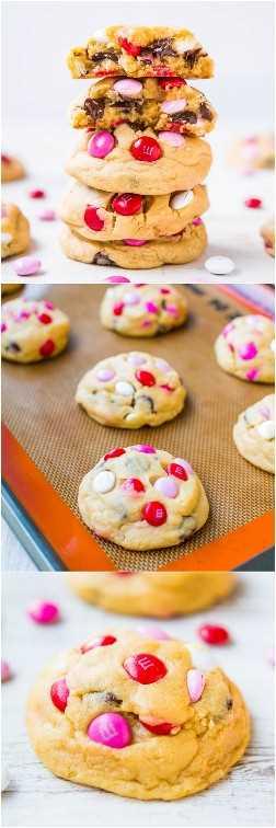 Soft M&M Chocolate Chip Cookies - ¡Las galletas M&M más suaves, gruesas y mejores de la historia! ¡A la gente le encantan estas grandes galletas cargadas de M & Ms y chocolate!