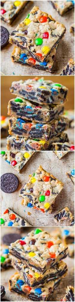 Barras de galletas Oreo M&M cargadas - ¡Rellenas al máximo con M & Ms y Oreos! Receta fácil, sin mezclador, lista en 30 minutos. ¡Siempre un éxito en las fiestas!
