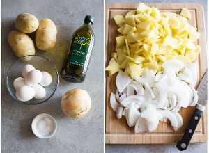 Los ingredientes para la tortilla de patata (papas, huevos, aceite de oliva, cebolla, sal) junto a otra foto de la papa y la cebolla en rodajas finas en una tabla de cortar.