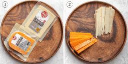 Colagem mostrando o queijo selecionado, depois desembrulhado e cortado