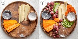 Colagem mostrando tigelas de pitada sendo adicionadas e frutas e legumes são adicionados