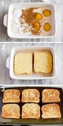 Procese las fotos para hacer tostadas francesas brioche, incluidos los ingredientes de la masa en un plato blanco, pan brioche bañado en la masa y luego tostadas francesas cocinando en una sartén.