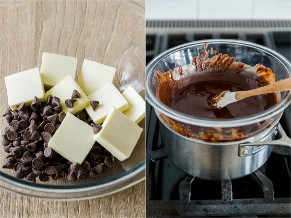 Derretir chocolate y mantequilla a baño maría