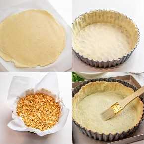 Imágenes paso a paso para precocer la base de tarta de quiche.
