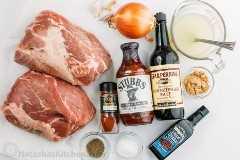 Ingredientes para cozinhar lentamente a carne de porco com molho barbecue