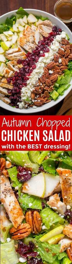 Salada de frango picada de outono será a sua salada de outono favorita. Salada de frango com peras, passas, nozes, queijo feta e frango com vinagrete balsâmico fácil! O   natashaskitchen.com