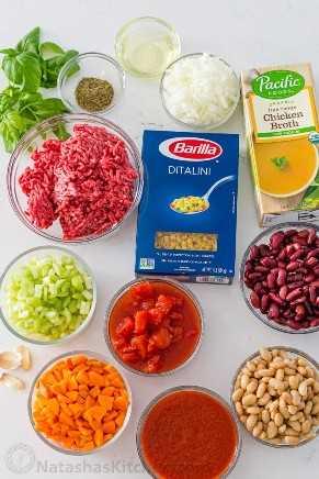 Ingredientes para sopa con pasta ditalini, carne molida, frijoles, tomates y caldo.