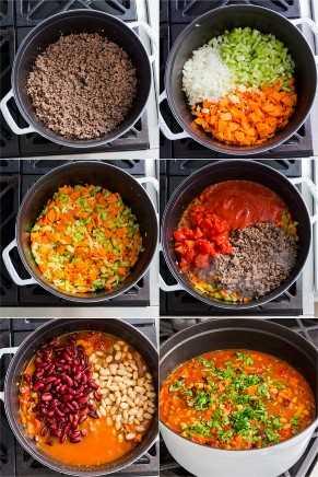 Tutorial paso a paso sobre cómo preparar pasta e fagioli dorando la carne, agregando vegetales, seguido de tomates y luego sazonando.