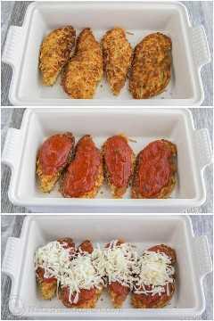 Pollo con costra de parmesano, preparado en una cacerola con marinara y queso