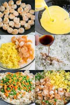 Como fazer arroz frito com camarão