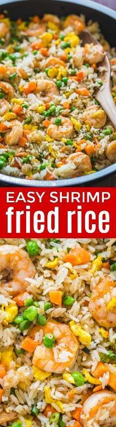 O arroz frito de camarão é uma das minhas refeições de 30 minutos e minha família não consegue o suficiente. O arroz frito é a melhor maneira de usar o arroz restante e sempre desaparece rapidamente. O | natashaskitchen.com