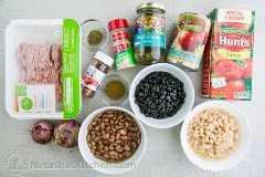 Ingredientes para o pimentão de peru