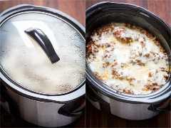 cozinhar lasanha em um fogão lento