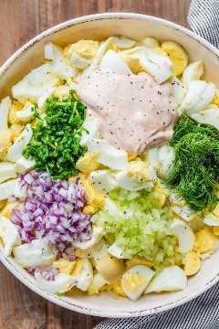 Ovo cozido, cebola, aipo, ingredientes de salada de endro em cubos em uma tigela de salada de ovo.
