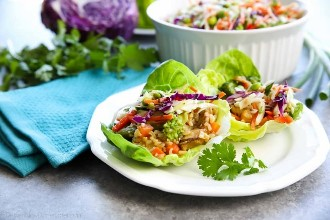 🥇 ▷ Envolturas de pollo teriyaki con ensalada de repollo asiático » Receta  Fácil y Saludable!