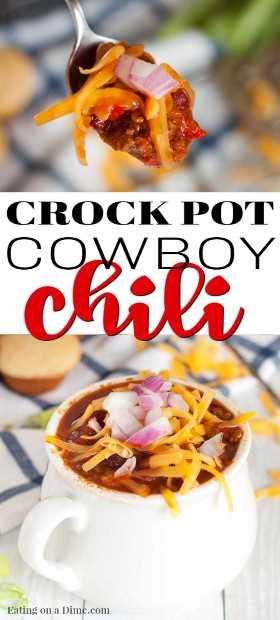 Todos aman el chile y esta Receta Crock Pot Cowboy Chili no decepciona. Cargado con abundante carne de res, frijoles y más, esta receta de chile es algo que debe probar.