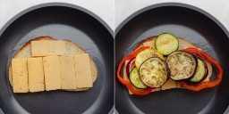 Colagem mostrando sanduíche de queijo grelhado em fazer com queijo e legumes