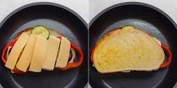 Colagem mostrando sanduíche de queijo grelhado em preparação com outra camada de queijo e pão com manteiga por cima