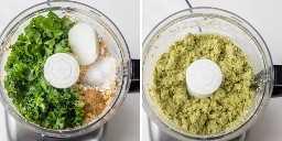 Colagem mostrando grão de bico com ervas, cebola e especiarias antes e depois da mistura