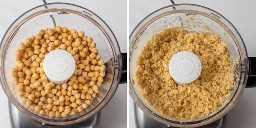 Colagem mostrando processador de alimentos moer grão de bico
