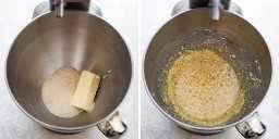 Procese las tomas de la mantequilla y el azúcar en la batidora