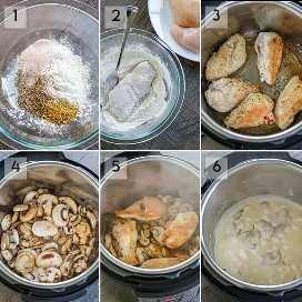 Instruções passo a passo sobre como fazer cogumelos e frango instantâneos