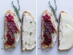 Colagem mostrando como fazer um panini de peru com sobras - pronto para assar