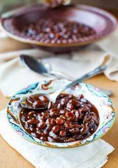 Frijoles cocidos al horno Bourbon Maple (vegan, GF): ¡los mejores frijoles horneados y los más fáciles! ¡Configúralo y olvídalo!