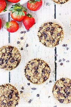 Muffins de proteína de aveia com pepitas de chocolate - Muffins de aveia com pepitas de chocolate são tão deliciosos que é difícil acreditar que sejam bons para você. Asse e congele-os para uma refeição saudável em movimento! O | halfscratched.com