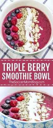 ¡Una mezcla vibrante de tres bayas e ingredientes ricos en proteínas, este Triple Berry Smoothie Bowl es una fuente inagotable de nutrientes! #glutenfree #dairyfree #healthyrecipe #smoothie
