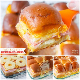 Our favorite recipe for Hawaiian sliders: tasty, cheesy, and easy to make! The perfect snack for the game day party! More tips for hosting a fabulous super bowl party on a budget!