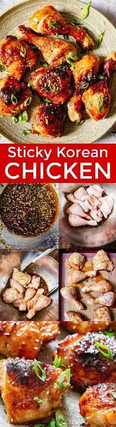 Uma receita rápida e fácil para frango coreano com ingredientes simples e fáceis de obter. Este frango é uma maravilhosa mistura de doce, azedo e salgado. Domine esta receita de frango asiático pegajoso da qualidade do restaurante em casa! O | natashaskitchen.com