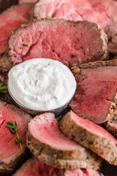 Ramekin of horseradish sauce for ribs or beef tenderloin