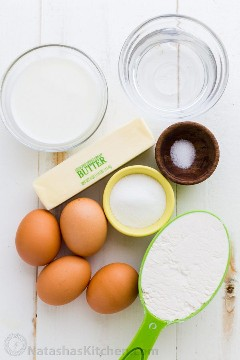 Ingredientes de pastelaria Choux
