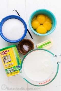 Ingredientes para o creme de baunilha