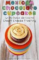 Bolinhos de chocolate mexicanos com cobertura de creme de queijo Dulce de Leche # cupcakes # sobremesa # mexicana # chocolate