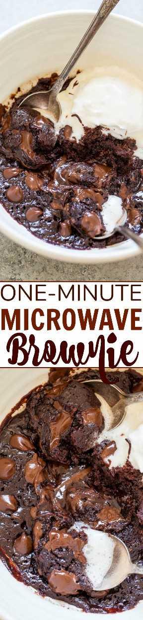 Brownie de microondas de un minuto: cuando llegue el antojo de chocolate, prepara esta receta de brownie FÁCIL en un tazón, sin batidora, ¡y está lista en UN MINUTO! ¡Rico, FUDGY, decadente y accidentalmente vegano! (¡sin lácteos, sin mantequilla, sin huevos!)