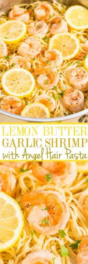 Camarones al ajo con mantequilla de limón y pasta de cabello de ángel: fideos mantecosos con camarones rellenos y jugosos, aromatizados con limón y ajo. ¡Una receta de cena familiar que está lista en 15 minutos y es FÁCIL!